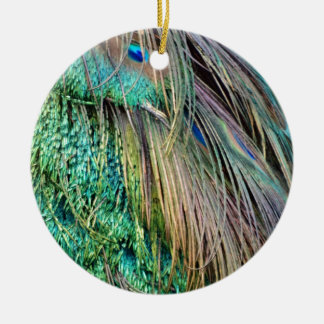 Deep Green And Tan Peacock Feathers Christmas Ornament