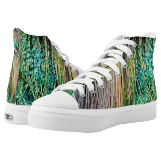 Deep Green And Tan Peacock Feathers High Tops