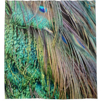 Deep Green And Tan Peacock Feathers Shower Curtain