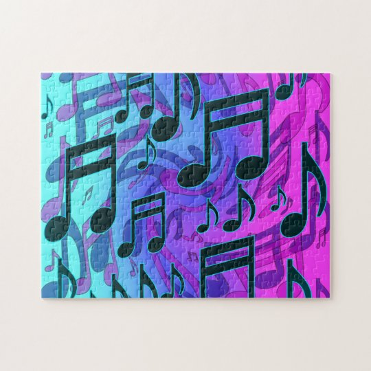 Deep Green Blue Music Notes Swirly Musical Pattern