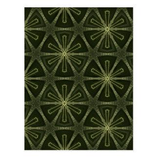 Deep green kaleidoscope postcard