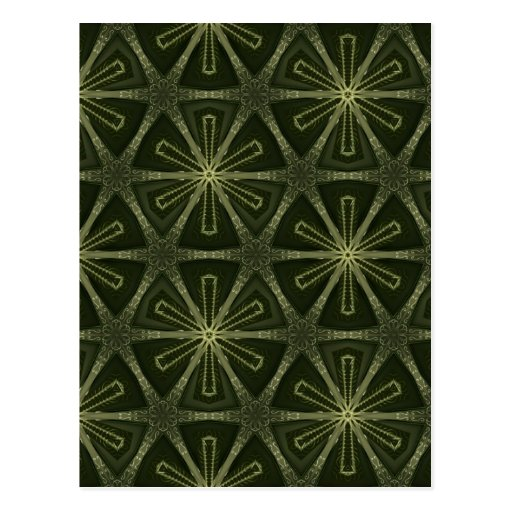 Deep green kaleidoscope postcards