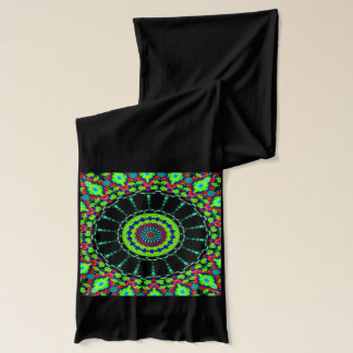 Deep green tribal abstract design jersey scarf