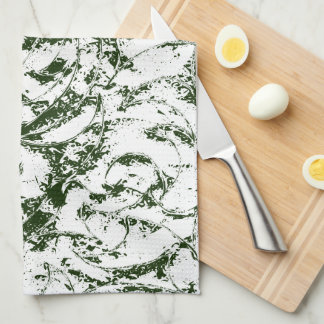 Deep Green Vine Ornament Tea Towel