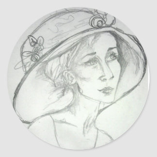Deep in thought classic round sticker