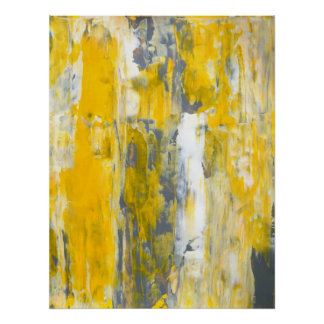 'Deep in Thought' Grey and Yellow Abstract Art Poster