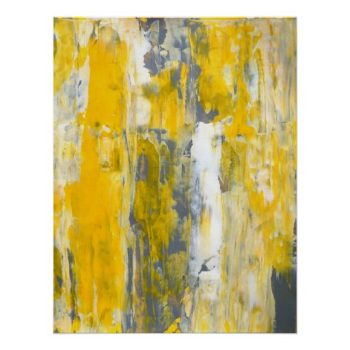'Deep in Thought' Grey and Yellow Abstract Art