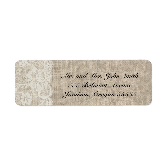 DEEP IVORY Lace and Burlap Return Address Labels