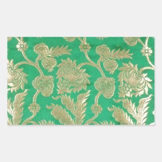 Deep jade and gold brocade rectangular sticker