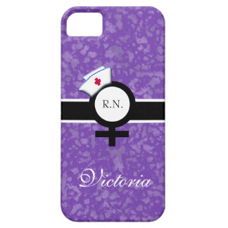 Deep Lilac+Female Sign+Nurse Cap/Name iPhone 5 Covers