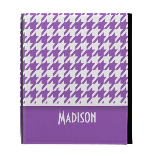 Deep Lilac Houndstooth; Personalized iPad Folio Covers