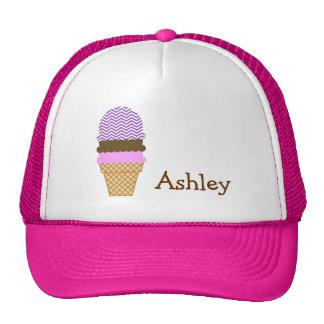 Deep Lilac Purple Chevron Stripes Ice Cream Mesh Hat