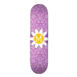 Deep Mauve Damask Daisy Custom Skateboard