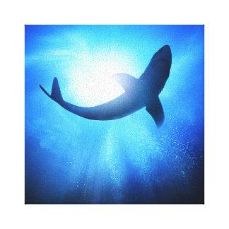 Deep Ocean Shark Silhouette Canvas Print