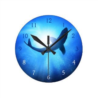 Deep Ocean Shark Silhouette Round Clock