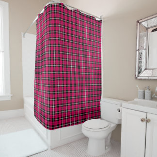 Deep orange autumn pink white/black stripe plaid shower curtain