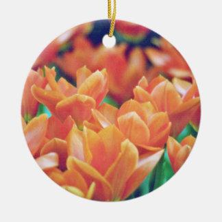 Deep Orange Tulips Opening Wide flowers Christmas Tree Ornament