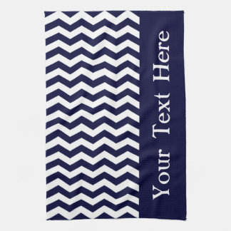 Deep Pacific Blue Wave Chevron customizable Tea Towel