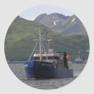 Deep Pacific Longliner in Dutch Harbor AK Round Stickers