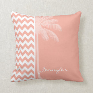 Deep Peach Chevron; Summer Palm Cushion