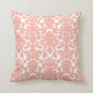 Deep Peach Damask Cushion
