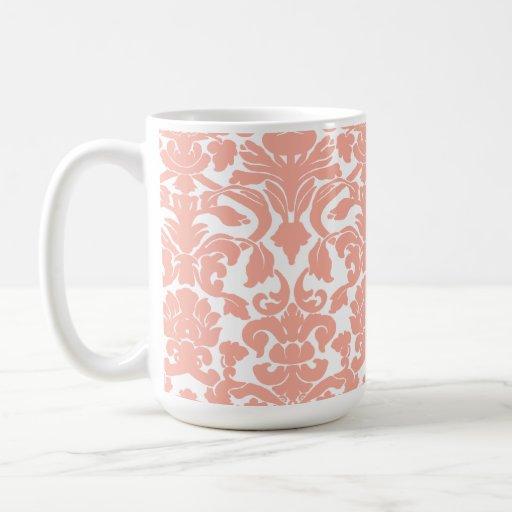 Deep Peach Damask Coffee Mugs