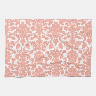 Deep Peach Damask Tea Towel