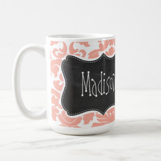 Deep Peach Damask; Vintage Chalkboard Coffee Mug