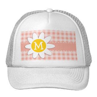 Deep Peach Gingham; Daisy Trucker Hat