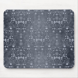 Deep Pewter Silvery Grey Floral Damask Pattern Mousepads