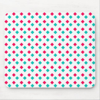 Deep Pink and Aqua Diamonds on White Mouse Pads
