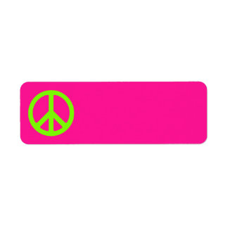 Deep Pink and Chartreuse Peace Symbol Return Address Label