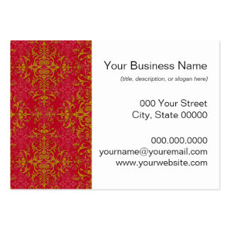 Deep Pink and Gold Elegant Damask Style Pattern Business Cards