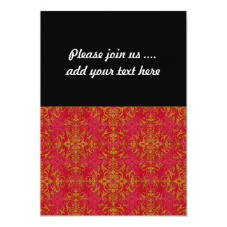 Deep Pink and Gold Fancy Damask Style Pattern 13 Cm X 18 Cm Invitation Card