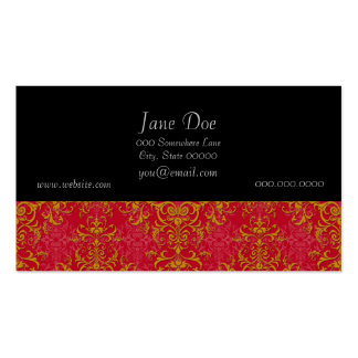 Deep Pink and Gold Fancy Damask Style Pattern Business Cards