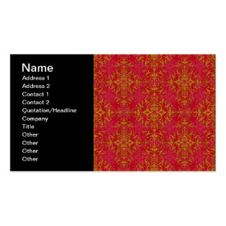 Deep Pink and Gold Fancy Damask Style Pattern Business Card