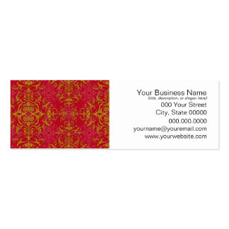 Deep Pink and Gold Fancy Damask Style Pattern Business Card Template