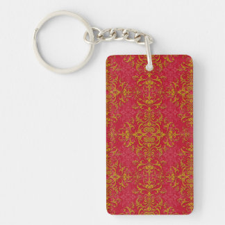 Deep Pink and Gold Fancy Damask Style Pattern Single-Sided Rectangular Acrylic Key Ring