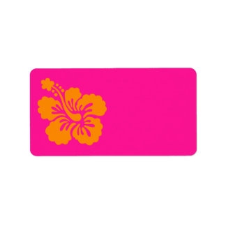 Deep Pink and Orange Hibiscus Address Label