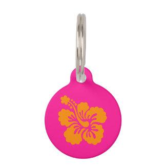 Deep Pink and Orange Hibiscus Pet Tag