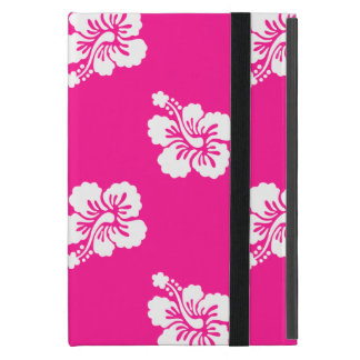 Deep Pink and White Hawaiian Flower Pattern iPad Mini Cover