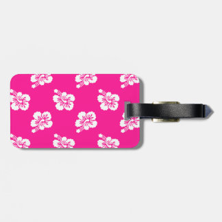 Deep Pink and White Hawaiian Flower Pattern Luggage Tag
