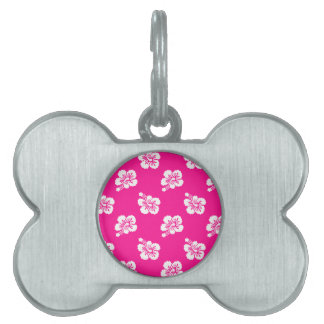 Deep Pink and White Hawaiian Flower Pattern Pet Name Tag