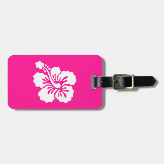 Deep Pink and White Hibiscus Luggage Tag