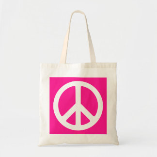 Deep Pink and White Peace Symbol Budget Tote Bag