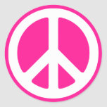 Deep Pink and White Peace Symbol Round Sticker