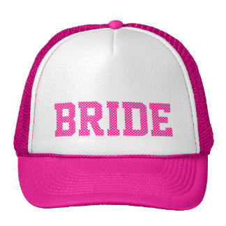 Deep Pink and White Polka Dots Bride Cap