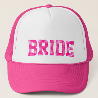 Deep Pink and White Polka Dots Bride Trucker Hat