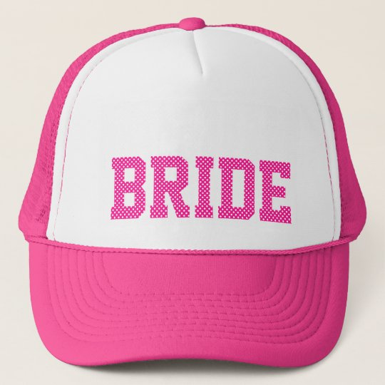 Deep Pink and White Polka Dots Bride Trucker