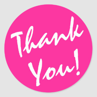 Deep Pink and White Thank You Classic Round Sticker